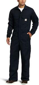 Carhartt Men's Flame Resistant Traditional Twill Coverall,Dark Navy,42 Short