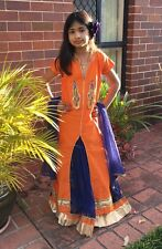 "28"" Age 9 10 Kids Lehenga Indian Bollywood Navy Blue Orange Silk Lahenga K41"