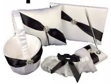 Black White Diamond Wedding Flower Basket Pen Guest Book Ring Pillow Garter Set
