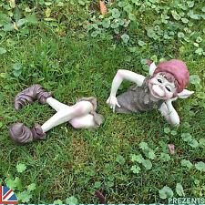 Big Pixie Boy Garden Sculpture Goblin Ornament Outdoor TWO PIECE Funny NEW 39104