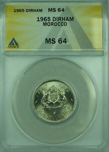 1965 Morocco ANACS MS 64 1 Dirham Coin Y#56