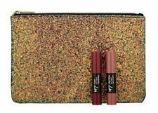 Boots No 7 Matte Lip Crayon & High Shine Lip Crayon With Glitter Cosmetic Pouch