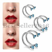 2PCS Blue CZ Surgical Steel Screw Nose Hoop Ring Studs Body Piercing Jewelry