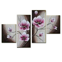 Original Abstract Oil Painting on Canvas Wall Art Home Decor Flowers Pink Framed
