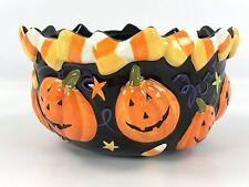 Colorful Halloween Candy Dish w/ Jack-o-Lantern & Candy Corn