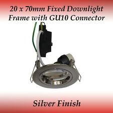 20 x 70mm Silver Fixed GU10 Recessed Downlight Frame Compatible to LED Globes