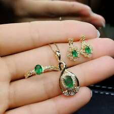 Natural Colombian Emerald Pendant Ring Earrings Silver Gold Plated Set