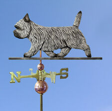 Cairn Terrier Hand Carved Hand Painted Basswood Dog Weathervane Light Grey