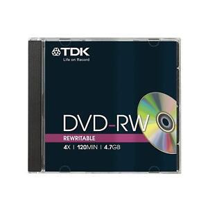TDK DVD-RW 4.7GB 4x Speed 120min Rewritable DVD Disc Jewel Case Pack 10