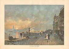Venice Italy, Riva Dei Schiavoni, Harbor, Street View, 1894 German Antique Print
