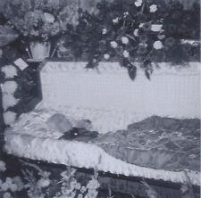 1950s SNAPSHOT PHOTO DUO POST MORTEM FUNERAL BODY IN CASKET