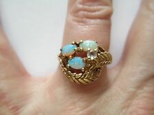 10kt Yellow Gold Opal and Diamond Ring- with 3 opals and 2 leaves-size 6