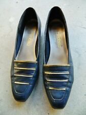 MAGDESIANS CALIFORNIA Womens Navy Blue Gold Striped Square Toe Low Heels 7N