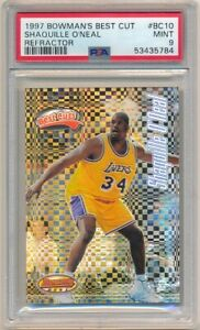 SHAQUILLE O'NEAL 1997/98 BOWMAN'S BEST #10 CUT REFRACTOR LAKERS SP PSA 9 MINT