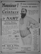 PUBLICITÉ DE PRESSE 1913 CEINTURE ANATOMIQUE POUR HOMMES Dr. NAMY - ADVERTISING