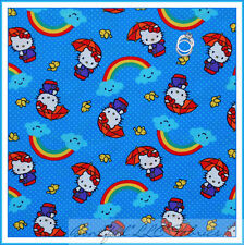 BonEful Fabric FQ Cotton Quilt Hello Kitty Blue White Rainbow Dot Bird Bow Cloud