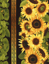 1 Half Metre Length Sunflowers Border Print Fabric - C1791 Black