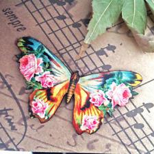 Butterfly brooch, Laser cut wooden badge, Wood jewelry, Nature jewellery, Flower