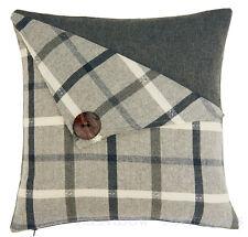 Button Detail Tartan Check 18 inch Cushion Cover Grey & Charcoal