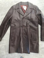 Brown Bermans Long Leather Jacket Coat Size 44 Vintage Zip-Out Liner Wide Collar
