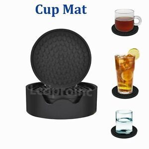 Silicone Drink Coasters Set of 6 piece Holder Non-Slip Cup Mat Pad Round Rubber