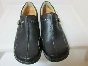 CLARKS Unstructured  Black Leather Moccasins  Women's 8 W