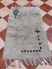 """Beni Ourain Vintage Carpet Old Hand Woven Azilal Moroccan Rug Wool 2'8"""" x 4'7""""f"""