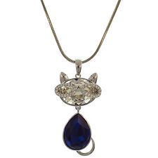 Kitty Cat with Glasses Pendant NecklaceJewelry Austrian Crystal Clear Blue 33""