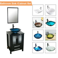 "24"" Black Bathroom Vanity Mirror Cabinet Set Vessel Glass Ceramic Sink Faucet Us"