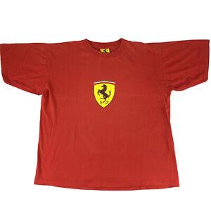 Vintage Ferrari Red Tee T-Shirt Big Logo 1996 Size XXL 2XL
