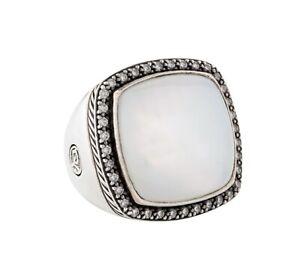 David Yurman Sterling Silver Albion Ring in Moon Quartz. Sz 10