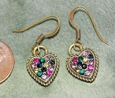 1 Pair Earrings in Brass Tone Antiqued Small Heart Encrusted with Rhinestones