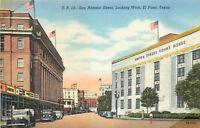 Linen Postcard AH B795 San Antonio Street Looking West El Paso Texas 1940s Cars