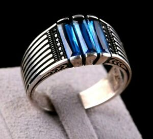 Turkish  STAR 925 Sterling Silver Blue aquamarine stone Mens ring ALL SİZE 45