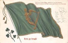 ST. PATRICK'S DAY HOLIDAY IRELAND FLAG & HARP EMBOSSED POSTCARD 1907 446