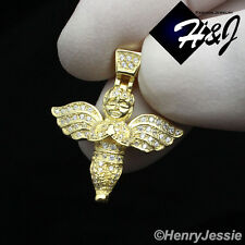 MEN WOMEN 925 STERLING SILVER ICED OUT LITTLE ANGEL WING GOLD CHARM PENDANT*GP95
