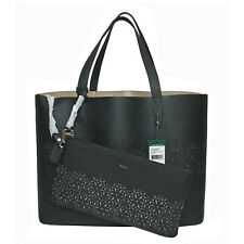 RALPH LAUREN Laser Cut Perforated Chantilly II Classic Tote Bag & Clutch • Black
