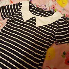 Striped cute pretty black white sailor Japanese Korean style collar dress 6/S