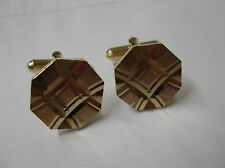 Diamond Cut Centre Patterned Gold Coloured Cufflinks