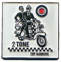Metal Enamel Pin Badge Brooch Two 2 Tone Top Ranking Checkers MOD Scooter Pair