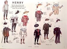 Vintage Pat Stall Paper Doll, Henry & Clothes from 1887, Uncut