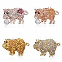 Lovely Animal Pig Crystal Pearl Brooch Pin Women Costume Charm Jewelry Gift New