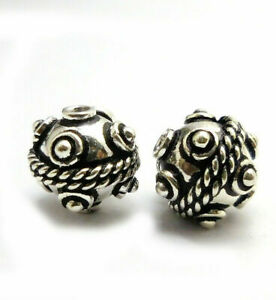 50 PCS 10MM SOLID COPPER BALI BEAD ANTIQUE STERLING SILVER PLATED B 15 TDH-76