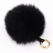 CC Faux Fur Pom Pom Furry Ball Rose Gold Tone Handbags Bag Key Ring Chains navy