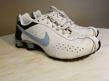 Women's White & Blue Nike Shox Tennis Shoes 11