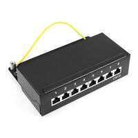 8 Ports 1U Rack Mount Full Shielded T568A T568B Ethernet RJ45 Patch Panel Cat6