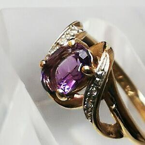 9 Carat 375 Gold Amethyst Diamond Ring Size L