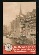 Germany Deutsches Bundesschiessen HAMBURG river scene 1909 Official PPC