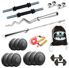 GB 40 Kg Home Gym Set+3 Ft Curl Rod+4 Ft Plain Rod+Accessories