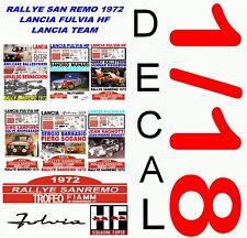 DECAL 1/18 SET RALLYE SAN REMO 1972 LANCIA FULVIA HF LANCIA TEAM (01)